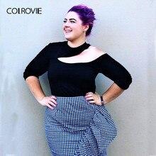 COLROVIE زائد حجم قطع غير المتكافئة الرقبة الصلبة الأسود T قميص المرأة 2018 طويلة الأكمام المحملة مثير الإناث تي شيرت المرأة قمم المحملة