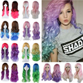 60cm Vogue Cosplay Anime Synthetic Full Wigs 100% Sexy Curly Wavy Rainbow Hair Wig Fashion Women Ladies Costume Fancy Dress