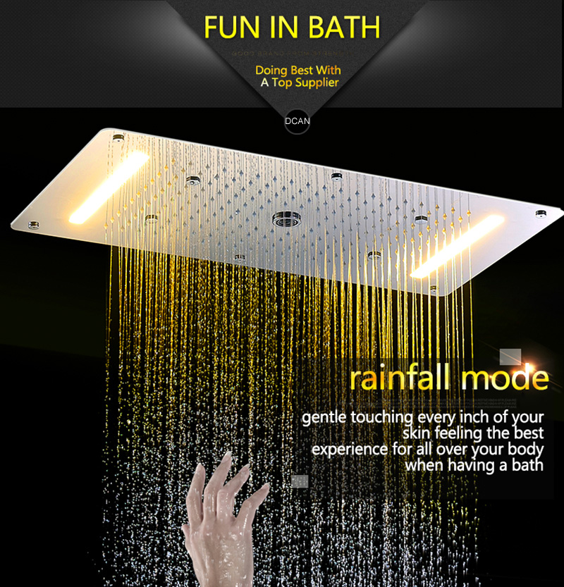 Luxury Shower Set Accessories Ceiling Multifunction Led Strip Shower Head Set with Rainfall Waterfall Spray Mist Water Column (8)