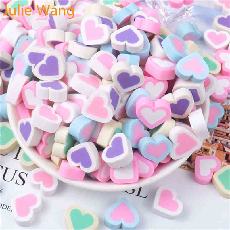 Julie Wang 10PCS Resin Heart Soft Candy Charms Slime Mixed Colors Pendants Jewelry Making Necklace Bracelet Accessory Home Decor