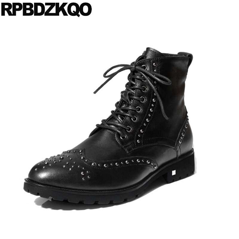 Punk Boots Metalic Shoes Stud British Style Vintage Motorcycle Fall Full Grain Ankle Faux Fur Rock Chunky Rivet Winter Men Black stud high top flat booties metalic sneakers rock ankle shoes winter men boots with fur brown rivet punk black zipper trainer