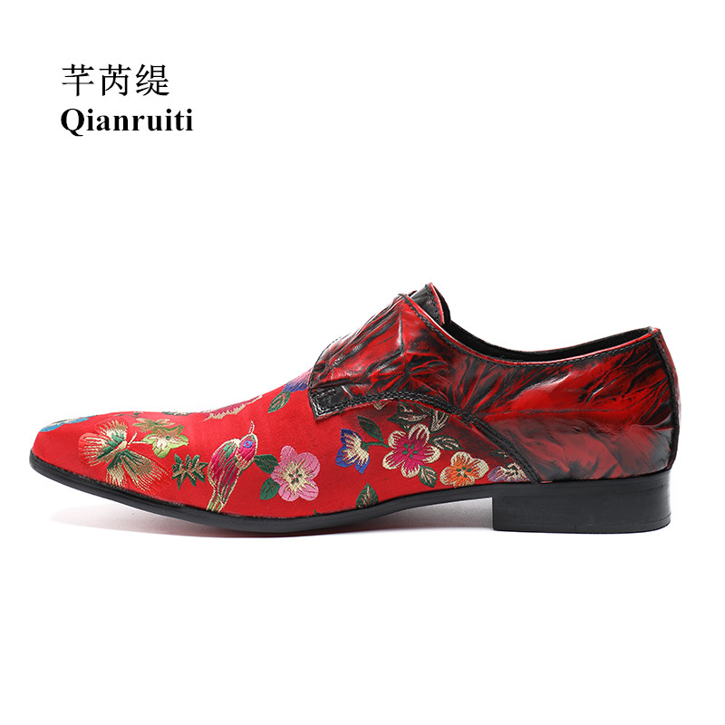 Qianruiti Men Embroidery Floral Shoes Vintage Style Buckle