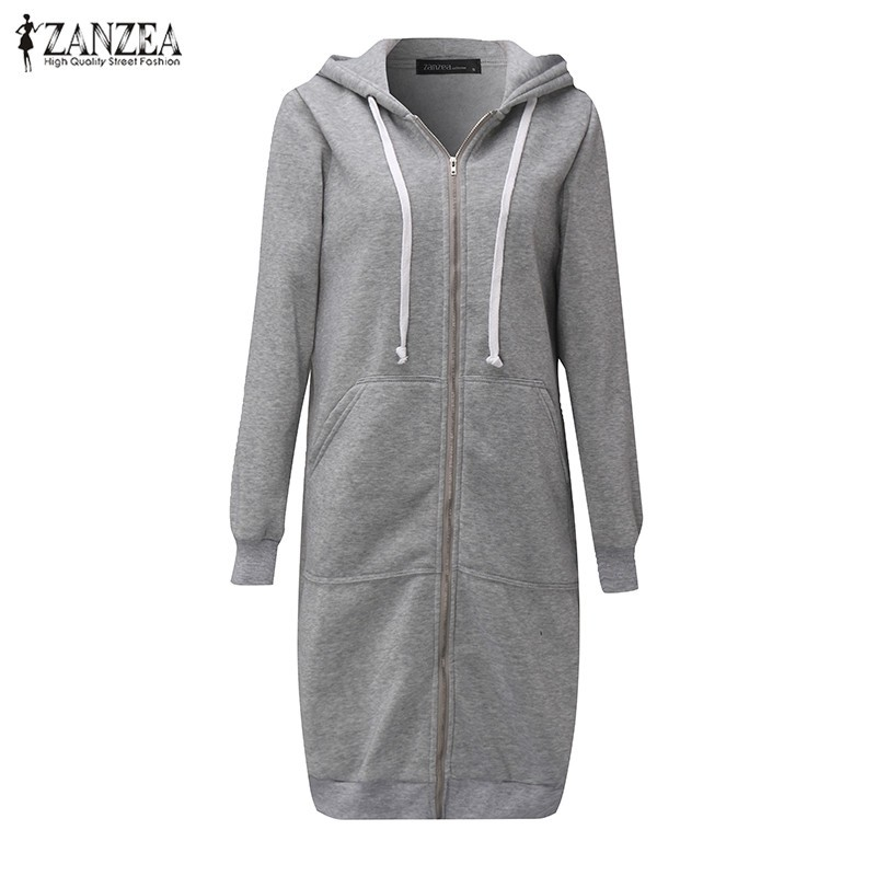Oversized 2017 Autumn Women's Casual Long Hoodies Sweatshirt, Coat, Pockets, Zip Up, Outerwear Hooded Jacket 24