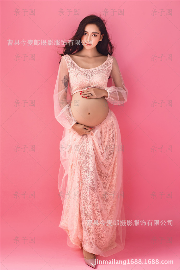 Hot sale maternity photography props pregnant women pink lace hot sale maternity photography props pregnant women pink lace dresses pregnancy photo shoot full sleeves boat neck flower dress in dresses from mother ombrellifo Images