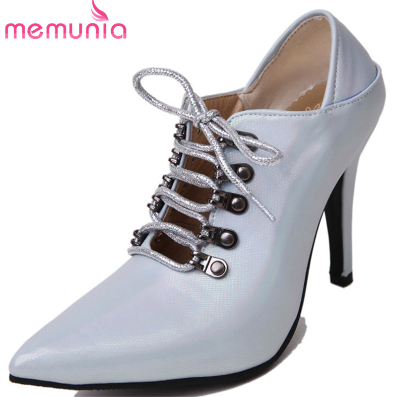 MEMUNIA 2019 big size 33-45 pumps women shoes pointed toe thin high heels shoes lace up spring summer shoes woman party shoes