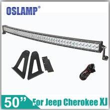 Oslamp Para Jeep Cherokee XJ 84 ~ 01 Refitment 480 W 50 pulgadas Curvada Barra Ligera del Trabajo de Conducción campo a través de Luz LED Bar + Montaje soportes