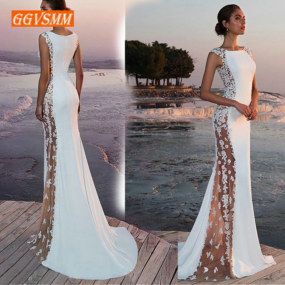 Fashion Ivory Mermaid long Evening Dresses Women 2019 Evening Gown Scoop Stretch Fabric Lace Zipper Sleeveles