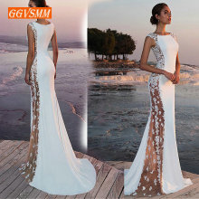 Fashion Ivory Mermaid long Evening Dresses Women 2019 Evening Gown Sco