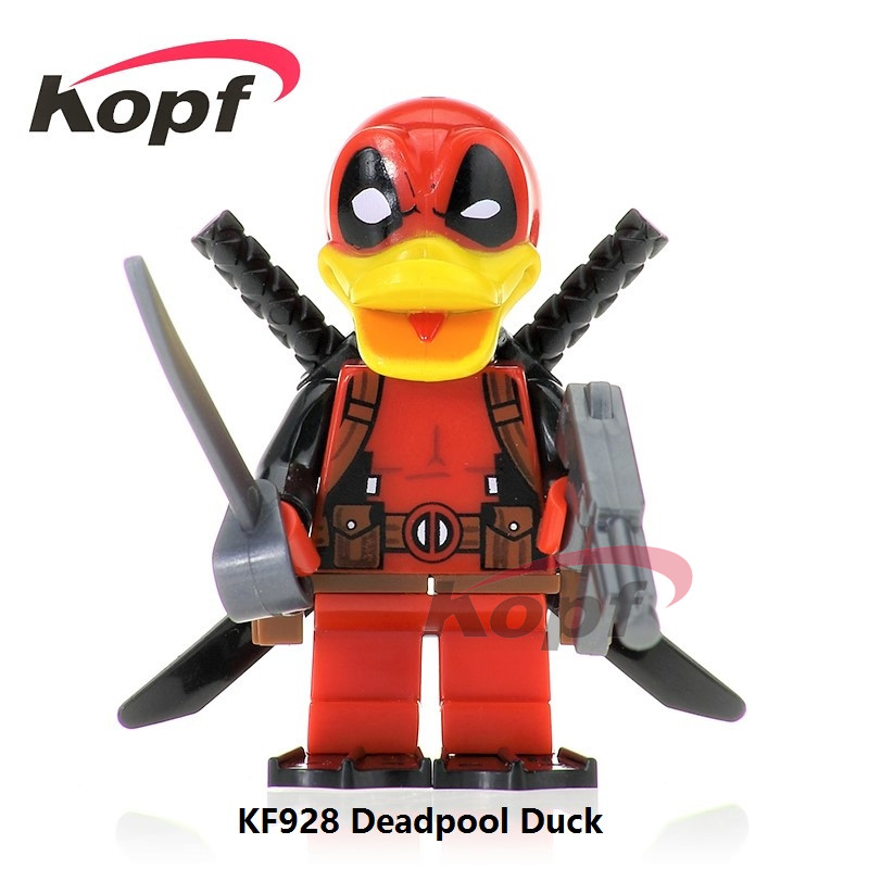 Single Sale Super Heroes Red Yellow Deadpool Duck The Flash Rick Morty Toxin Bricks Building Blocks Children Gift Toys KF928 single sale super heroes yellow red black flash bane green lantern firestorm building blocks bricks toys for children gift kf262