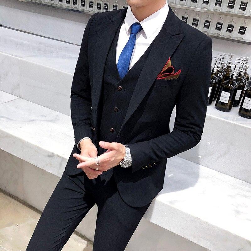 Бургундия Бизнес Мода Мужчины двубортный костюм джентльмен строгий костюм; для жениха на заказ - 5