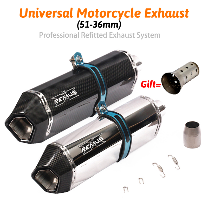 Universal Motorcycle REMUS Exhaust Pipe Escape Modified Inlet 51mm Carbon Muffler Sticker For R25 Z900 GSXR750