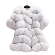 2016 European Style Fifth Sleeve Winter Women High Imitation Faux Fur Coat Jacket Fur Coat Women Clothes Fox Fur Coat Size 6XL