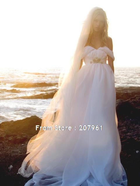 Romantic Beach Chiffon Wedding Dresses Off Shoulder Bridal Vintage Greek Goddess Gown Robe