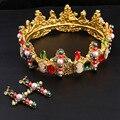 Nueva Colorful Barroco coronas de novia sistemas de La Joyería Del Pelo multicolor Oro perla de Cristal tiara Hairbands Accesorios Pelo de La Boda