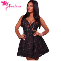 Dear Lover Short Party Dresses Summer Women V Neck Black Rose Lace Illusion Sexy Backless Skater