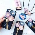 New Coreano 3D Daisy Floral de metal borla macio Caso de Telefone silicone para iphone 7 7 plus 6 6 s plus 6 além disso bling flor capa colhedor