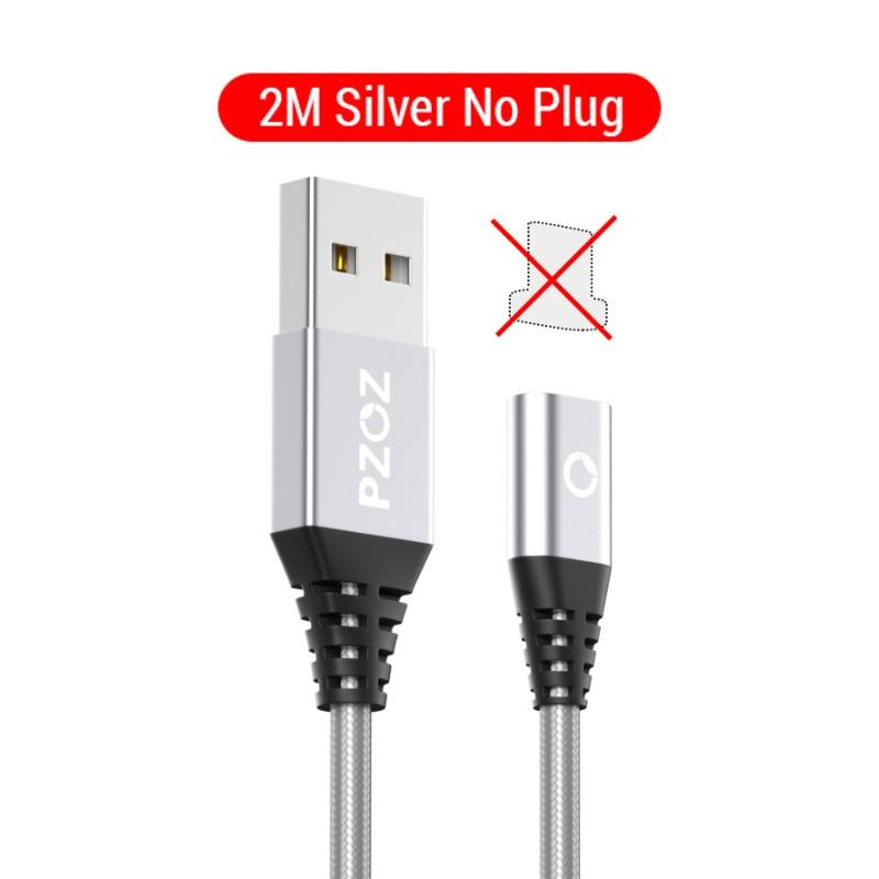 PZOZ Магнитный кабель Micro usb Тип C Быстрая Зарядка адаптер телефон Microusb Тип-C магнит Зарядное устройство usb c для iphone 11 pro X Max Xr samsung S10 S9 NOTE 10 9 8 xiaomi mi 9 8 6 A2 lite 6X redmi note 7 8 plus - Цвет: 2M Silver NO Plug