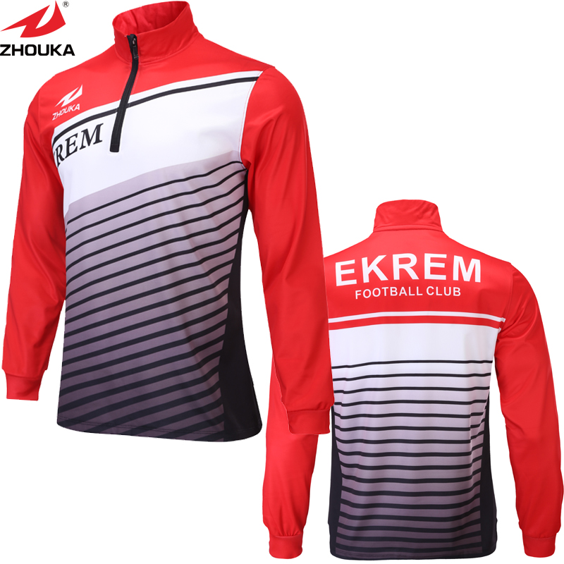 все цены на Quick-drying Long-sleeved 1/4 Zipper Men Soccer jersey custom sublimation men t shirt онлайн