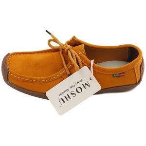 Image 5 - Kadın Flats hakiki deri makosenler dantel Up katlanır Moccasins katlanabilir rahat ayakkabılar bayanlar kare ayak kadın Zapatos Mujer