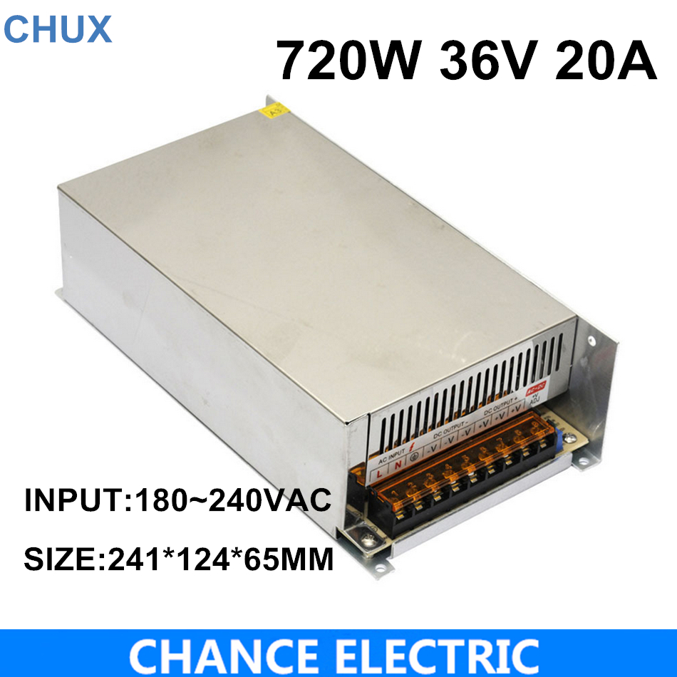 S-720-36 CE approved high quality SMPS Led switching power supply 36V 20A 720W 110/220Vac to dc 36v made in China ce approved oem 500w 15v dc power supply high efficiency transformer 15v 32a china supplier
