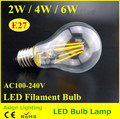 Top Sale E27 Led Bulbs 2w 4w 6w Filament Bulb 360 Degree 600lm AC85-265V Warm White Edison Lighting Bulb Indoor Living Room