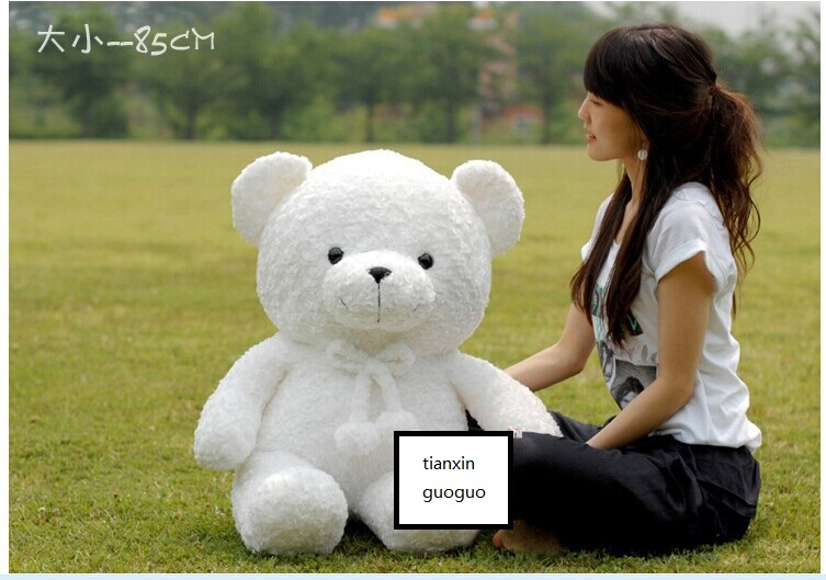 fat new plush teddy bear doll lovely white bear toy gift about 85cm new plush gentle teddy bear toy creative suit bear doll gift about 50cm
