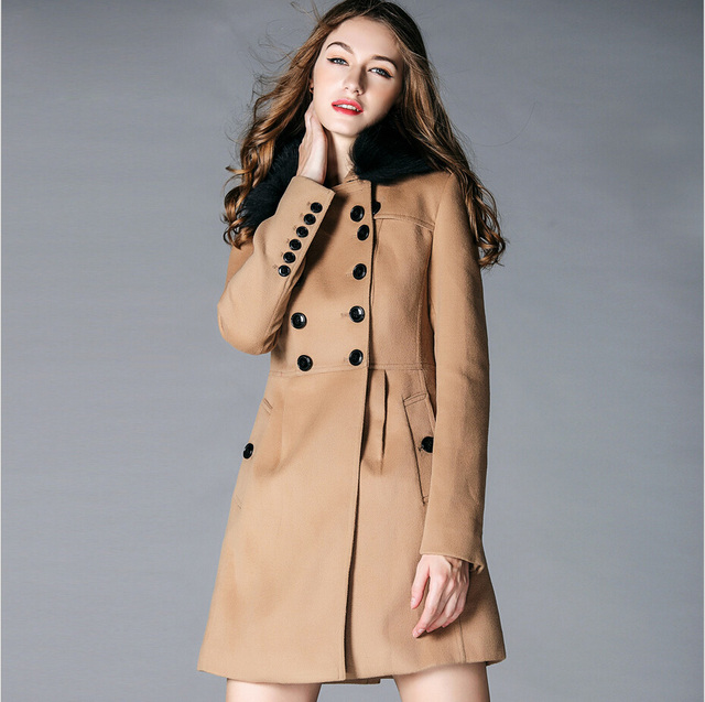 f750b06c04fe Wool Coat With Real Fur Collar Womens Winter Coats And Jackets 2016 Le  Palais Vintage Wool Coat Plus Size Women Long Coats