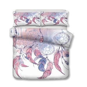 Image 2 - Bettwäsche Set 3D Druckte Duvet Abdeckung Bett Set Dreamcatcher Böhmen Hause Textilien für Erwachsene Bettwäsche mit Kissenbezug # BMW04