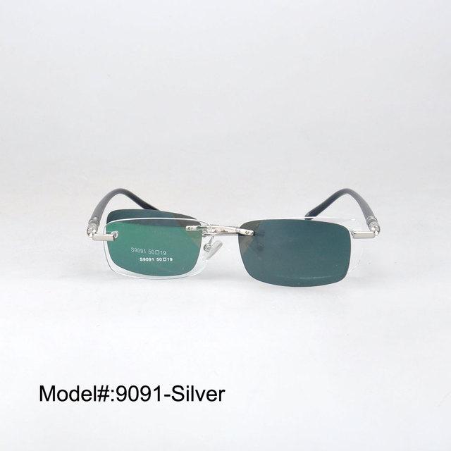 9091 nuevo diseño de gafas sin montura gafas de miopía clip polarizado en los marcos ópticos