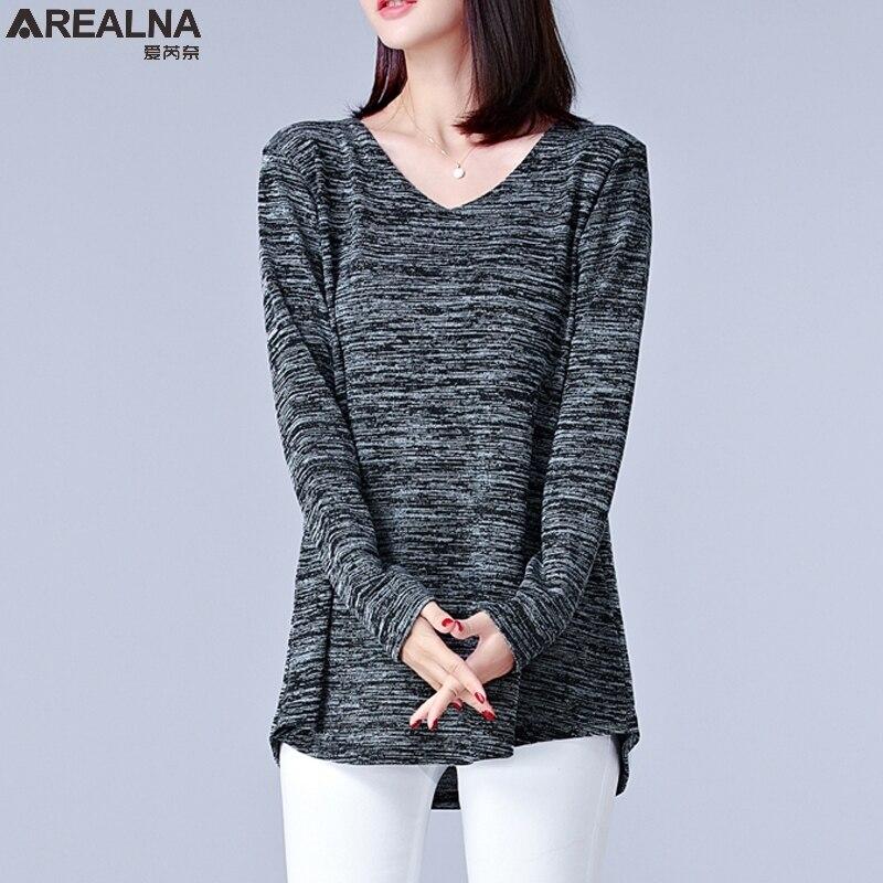 2018 Automne Coréenne Vogue À Manches Longues T-shirt Femmes Plus Taille 4XL 5XL Femelle Vintage Tunique Tops T-shirt Rayé T-shirts shirts Femme