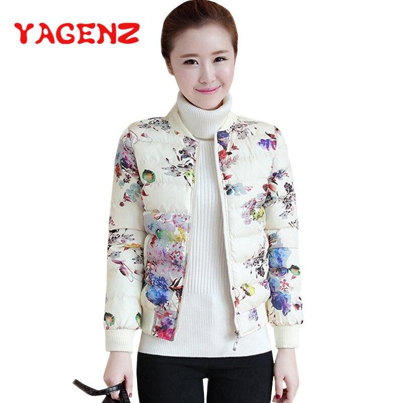 YAGENZ Warm Short Down Cotton Jacket Women Black Coat   Parkas   Mujer 2018 Autumn Winter Clothes Hat Jacket Women Tops Flower Print