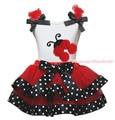 Halloween Top Beetle Ladybug Red Polka Dot Satin Trim Skirt Girls Outfit NB-8Y MAPSA0806
