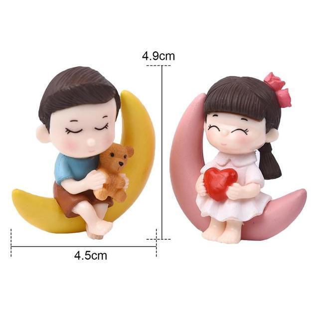2pcs/Set New Arrival  Moon Couple PVC Romantic Figurines Craft Decorative Ornaments For Bonsai Home Table Decoration 4