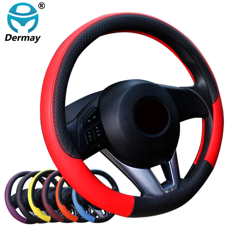 Fashion Embossed Car Steering Wheel Cover 6 Styles Anti-slip Fit For Car Styling 37-38CM Auto Steering-wheel Free Shipping