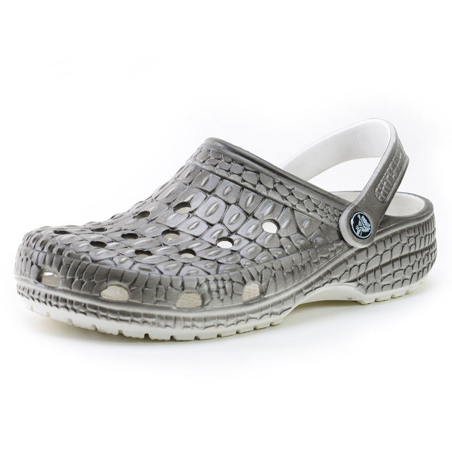 058923f62 Crocodile skin mules Men casual sandals summer hole shoes lazy male slippers