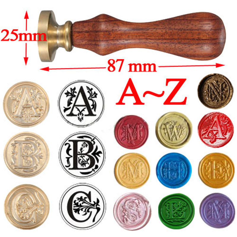 retro high quality classic 26 letter a z alphabet initial sealing wax seal stamp post decorative free