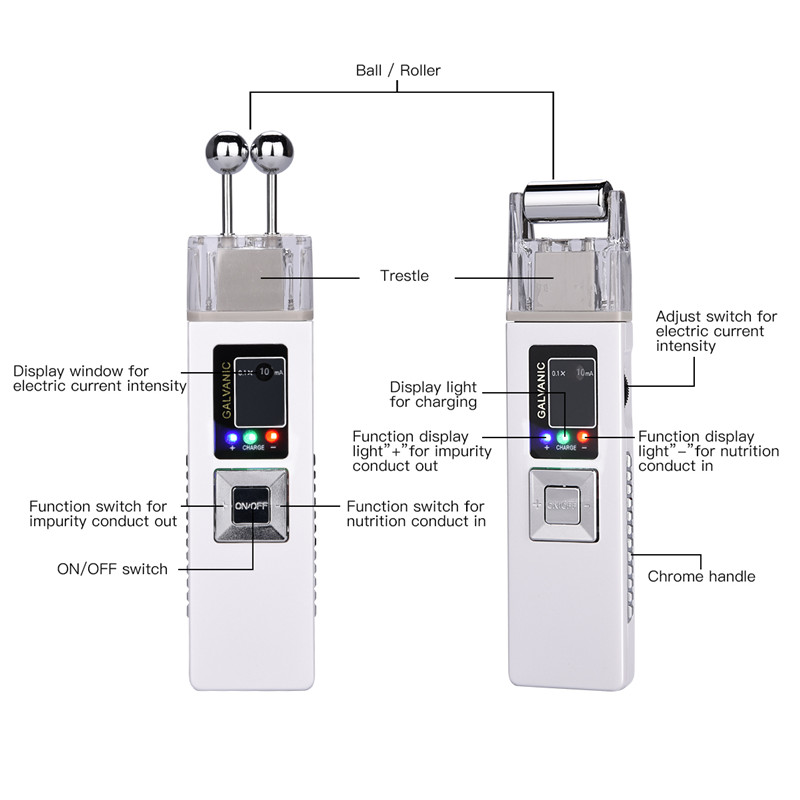 US $37 34 47% OFF|ION Galvanic Microcurrent Skin Firming Machine  Iontophoresis Anti aging Massager Face Clean Double Massage Head Beauty  Device 46-in