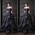 Frete Grátis Glamorous Querida Fora Do Ombro vestido de Baile Mangas de Organza Com Beading Preto Longo Pageant Vestido de Noite