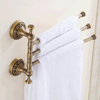 Vidric European Copper Gold Towel Rack Toilet Towel Bar Bathroom Antique Rotate Towel Bar Antique Activities Towel 3 Bar F91381