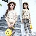 2016 Spring Autumn Girls Clothing Sets Kids Clothes Cotton Cute Floral Pattern Outerwear & Leggings 2-Pieces Children Suit 5-14Y