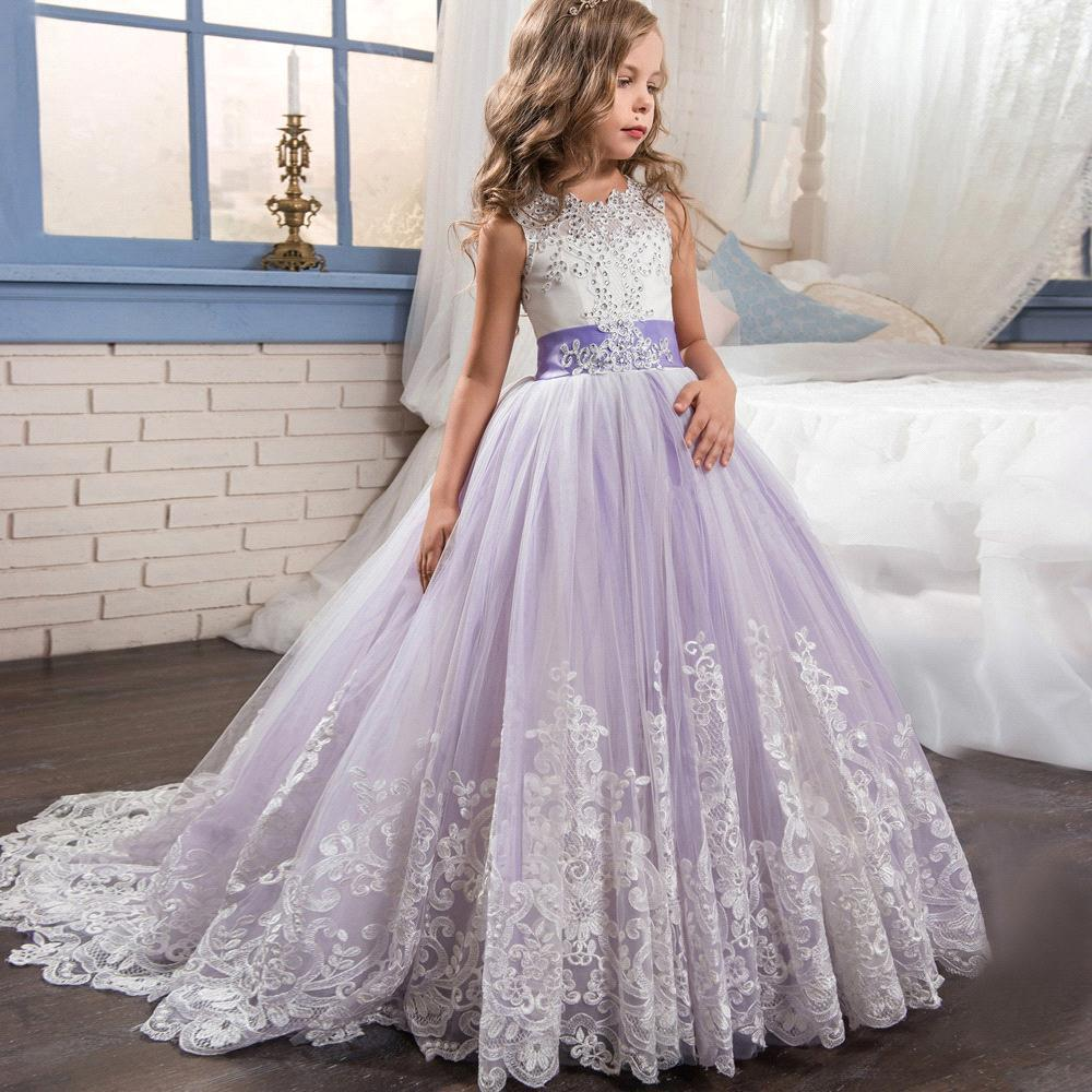 Babyonline Lace Sequin Long   Flower     Girl     Dresses   2019 Bow Sash Communion   Dresses   Kids Prom   Dresses   vestido para daminha