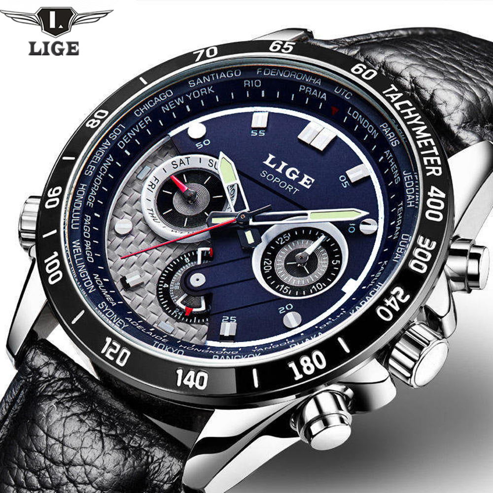 LIGE Fashion Chronograph Sport Mens Watches Top Brand Luxury Quartz Watch Reloj Hombre 2017 Clock Male Hour Relogio Masculino цена и фото