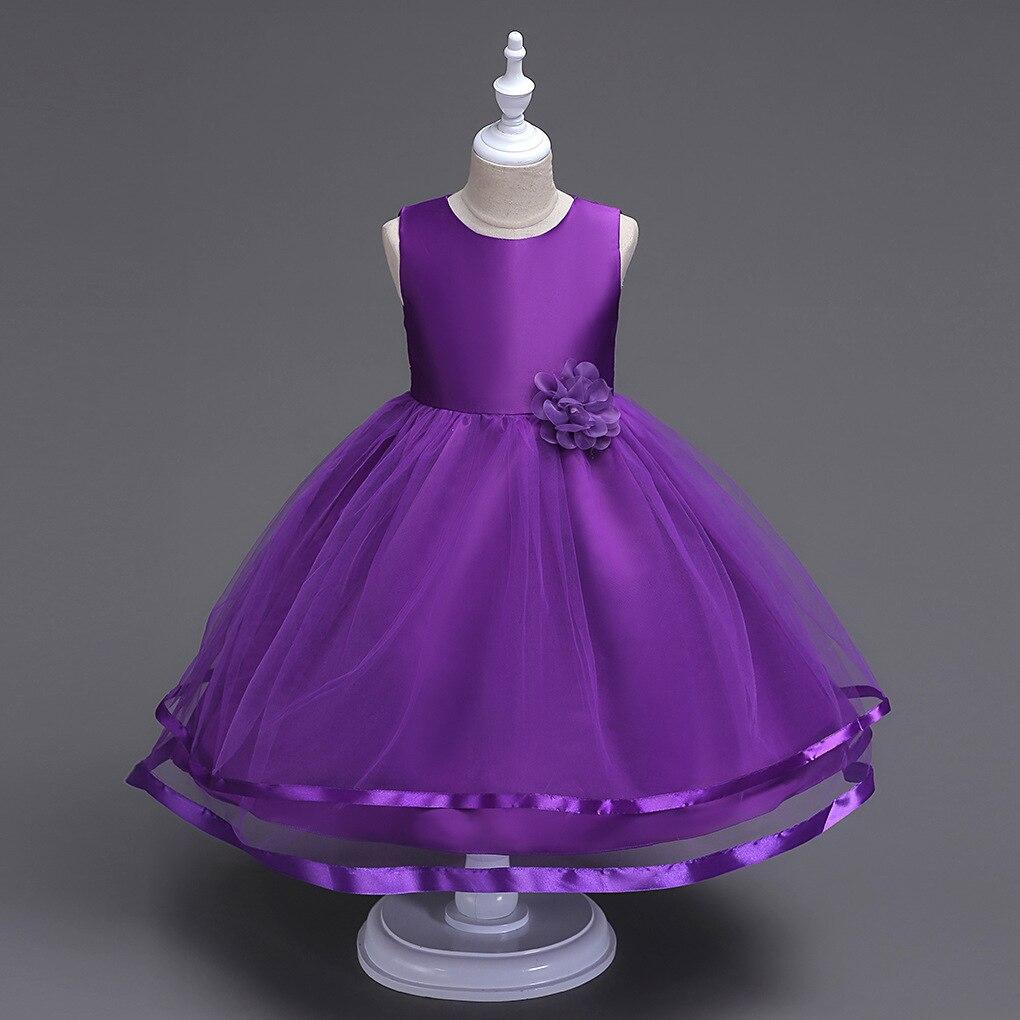 Kids Dresses For Girls Teenagers Spring Princess Dress Solid Flowers Casual Dresses 2018 New Unicom Dress 6 8 9 10 11 12 13 14 kids girls dresses 2018 new winter solid