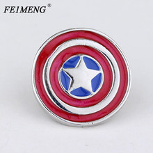 Mar Super Hero Captain America Bros Avengers Set Perisai Bulat Merah Enamel Lencana Fashion Bros Pin untuk Wanita penggemar(China)