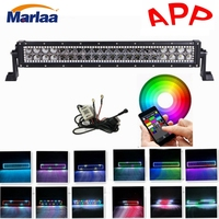 120w 22inch Straight Led Light Bar Combo with Chaser RGB Halo Double Row Led lights Strobe & Fun Chasing Function Driving Lamp
