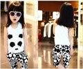 2016 new retail moda muchacha de los niños del verano de la ropa de la muchacha de la panda animales chaleco + pantalones del juego del deporte set para niños