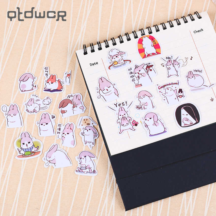 40 قطعة/المجموعة الكرتون الحيوانات الأليفة القرطاسية ملصقا السمين الأرنب سلسلة الديكور DIY الألبوم سكرابوكينغ ملصقا هدية المواد اجتماعيون