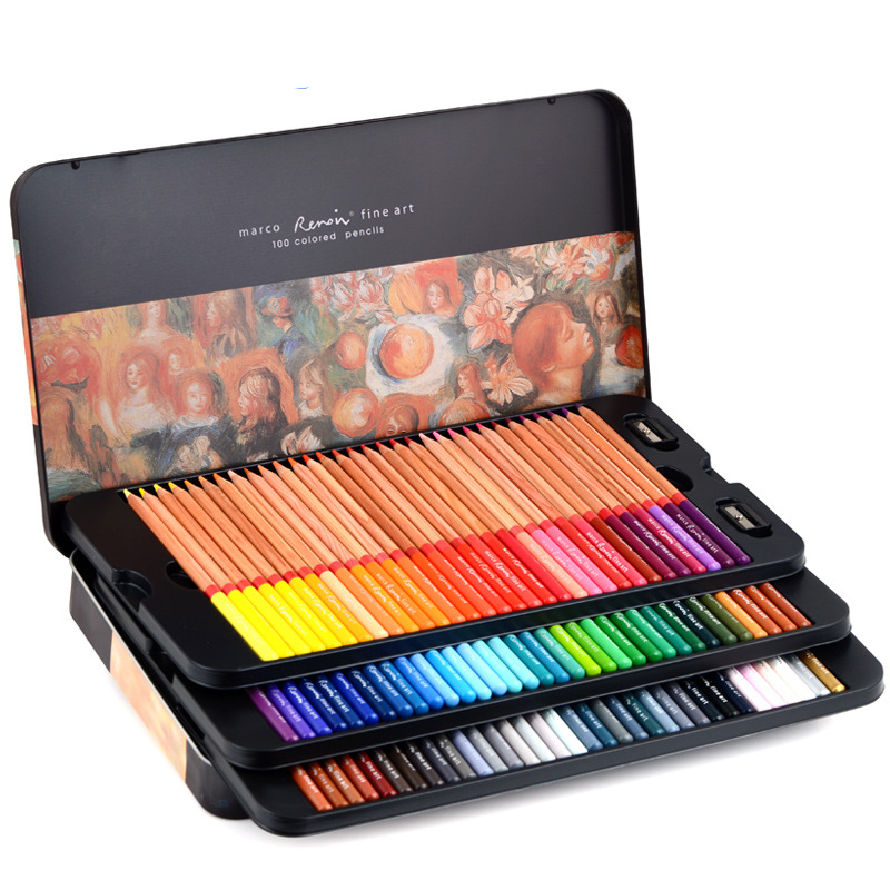 Professional Oil Color Pencil 24/36/48/72/100/120 Colors Art Painting Pen Iron Box Hand-Painted For Drawing Sketch Art Supplies