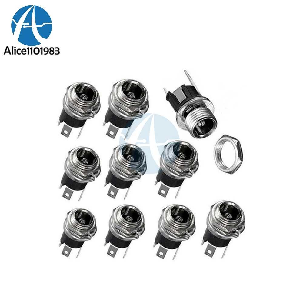 10PCS 3-Pin 5.5 x 2.1mm DC Power Supply Jack Socket Female Panel Mount Connector