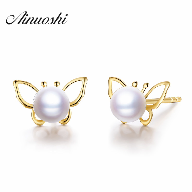 AINUOSHI 18K Yellow Gold Natural Cultured Freshwater Pearl Stud Earrings Cute Butterfly AAAAA Luster Round White
